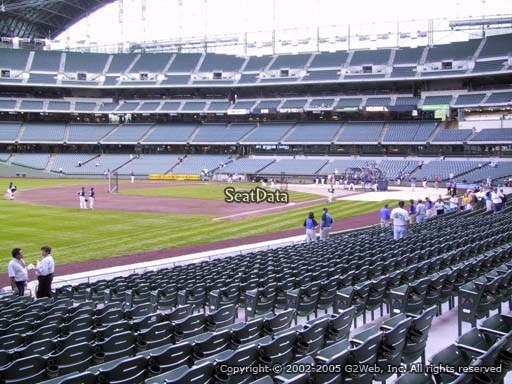 Seat view from section 127 at Miller Park, home of the Milwaukee Brewers