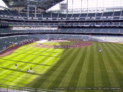 Seat view from bleacher section 202 at Miller Park, home of the Milwaukee Brewers