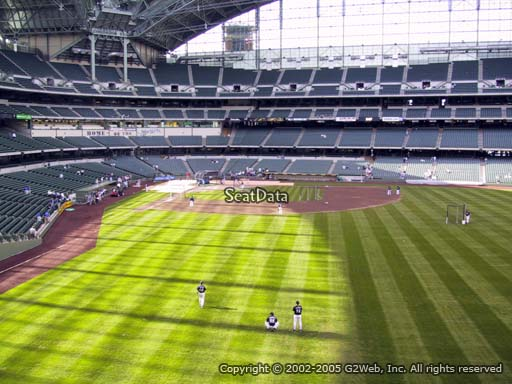Seat view from bleacher section 203 at Miller Park, home of the Milwaukee Brewers