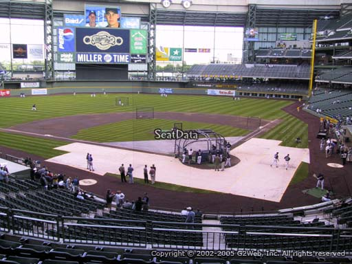 Seat view from section 220 at Miller Park, home of the Milwaukee Brewers