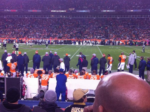 Seat view from section 104 at Sports Authority Field at Mile High Stadium, home of the Denver Broncos