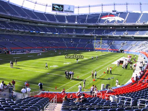 Seat view from section 129 at Sports Authority Field at Mile High Stadium, home of the Denver Broncos
