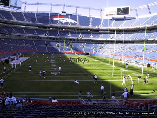 Seat view from section 133 at Sports Authority Field at Mile High Stadium, home of the Denver Broncos