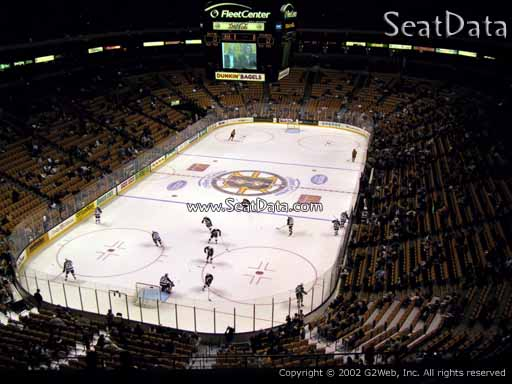 Seat view from section 307 at the TD Garden, home of the Boston Bruins