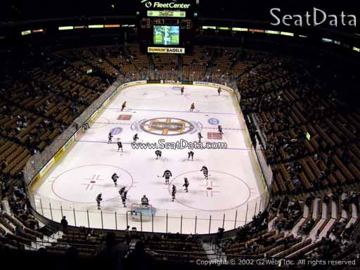 Seat view from section 308 at the TD Garden, home of the Boston Bruins
