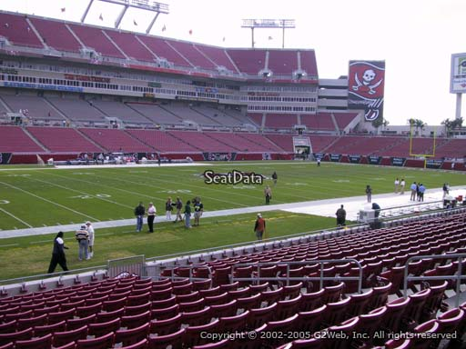 Seat view from section 107 at Raymond James Stadium, home of the Tampa Bay Buccaneers