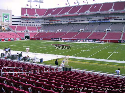 Seat view from section 113 at Raymond James Stadium, home of the Tampa Bay Buccaneers
