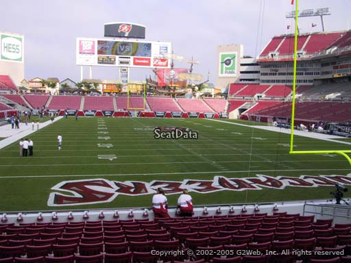 Seat view from section 122 at Raymond James Stadium, home of the Tampa Bay Buccaneers