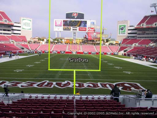 Seat view from section 123 at Raymond James Stadium, home of the Tampa Bay Buccaneers