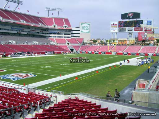 Seat view from section 127 at Raymond James Stadium, home of the Tampa Bay Buccaneers