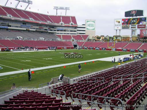 Seat view from section 128 at Raymond James Stadium, home of the Tampa Bay Buccaneers