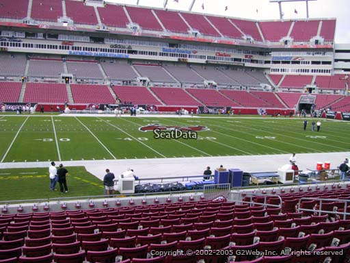 Seat view from section 134 at Raymond James Stadium, home of the Tampa Bay Buccaneers