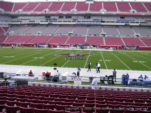 Seat view from section 136 at Raymond James Stadium, home of the Tampa Bay Buccaneers