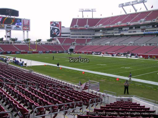 Seat view from section 143 at Raymond James Stadium, home of the Tampa Bay Buccaneers