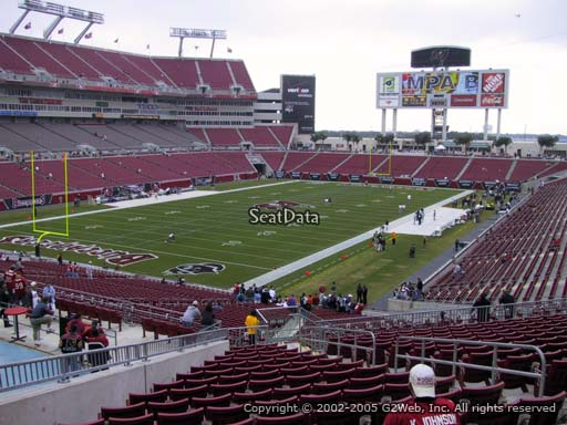 Seat view from section 201 at Raymond James Stadium, home of the Tampa Bay Buccaneers
