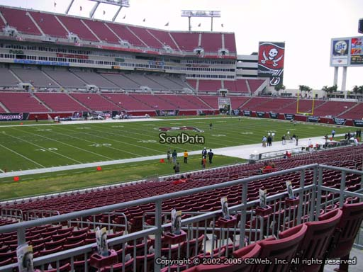Seat view from section 206 at Raymond James Stadium, home of the Tampa Bay Buccaneers