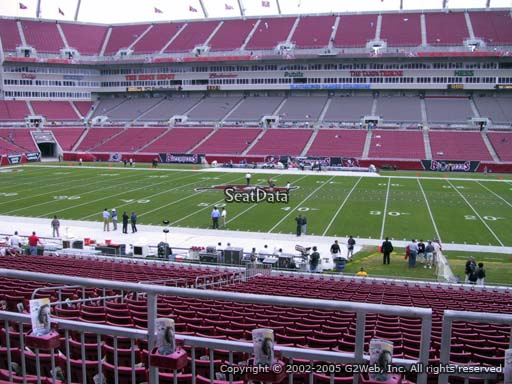 Seat view from section 212 at Raymond James Stadium, home of the Tampa Bay Buccaneers
