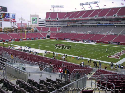 Seat view from section 217 at Raymond James Stadium, home of the Tampa Bay Buccaneers