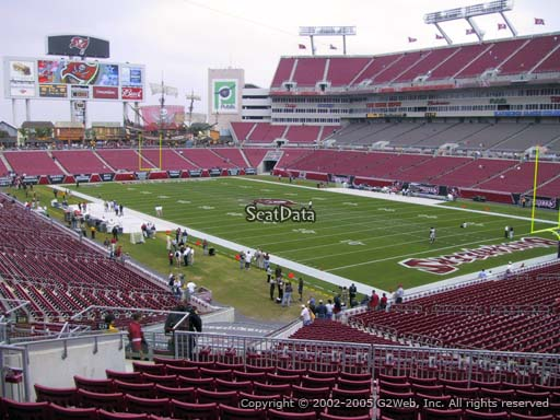 Seat view from section 219 at Raymond James Stadium, home of the Tampa Bay Buccaneers
