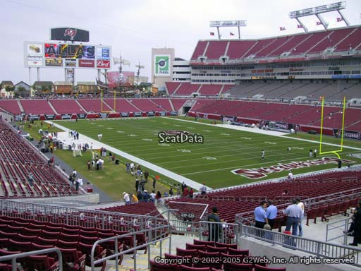 Seat view from section 220 at Raymond James Stadium, home of the Tampa Bay Buccaneers