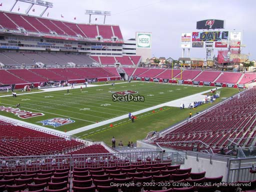 Seat view from section 227 at Raymond James Stadium, home of the Tampa Bay Buccaneers