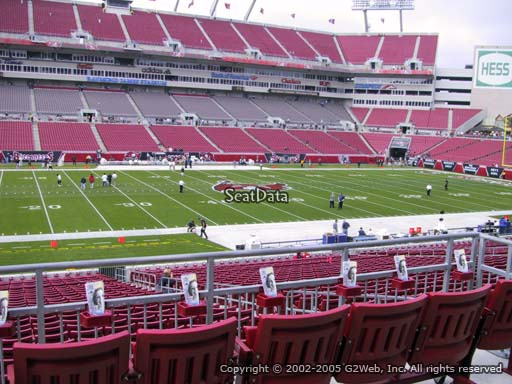Seat view from section 233 at Raymond James Stadium, home of the Tampa Bay Buccaneers