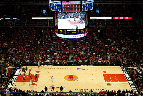 View from the Standing Room Only Area at the United Center, home of the Chicago Bulls