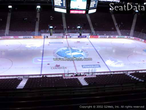 Seat view from section 308 at Rogers Arena, home of the Vancouver Canucks