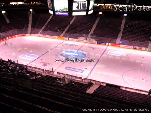 Seat view from section 321 at Rogers Arena, home of the Vancouver Canucks
