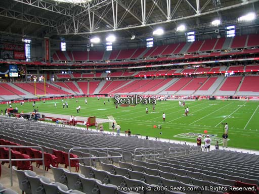 View from section 104 at University of Phoenix Stadium, home of the Arizona Cardinals