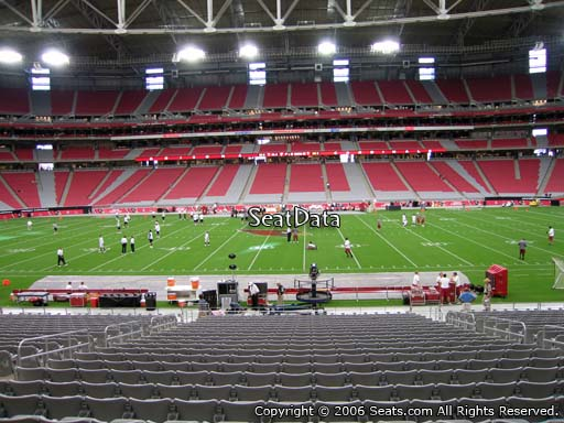 View from section 108 at University of Phoenix Stadium, home of the Arizona Cardinals