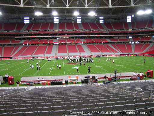 View from section 109 at University of Phoenix Stadium, home of the Arizona Cardinals