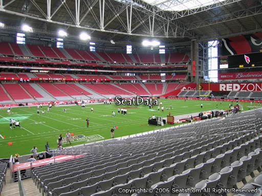 View from section 114 at University of Phoenix Stadium, home of the Arizona Cardinals