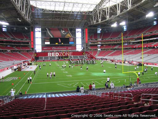 View from section 121 at University of Phoenix Stadium, home of the Arizona Cardinals