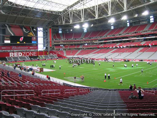 View from section 124 at University of Phoenix Stadium, home of the Arizona Cardinals