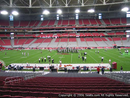 View from section 129 at University of Phoenix Stadium, home of the Arizona Cardinals