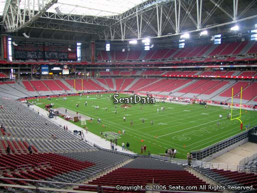 View from section 203 at University of Phoenix Stadium, home of the Arizona Cardinals