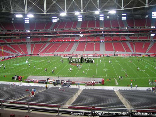 View from section 210 at University of Phoenix Stadium, home of the Arizona Cardinals, home of the Arizona Cardinals