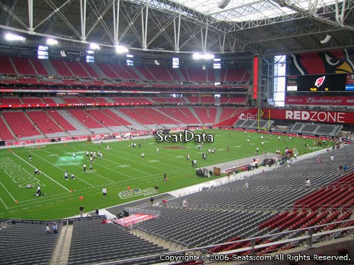 View from section 218 at University of Phoenix Stadium, home of the Arizona Cardinals