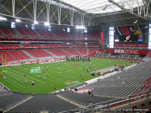 View from section 219 at University of Phoenix Stadium, home of the Arizona Cardinals
