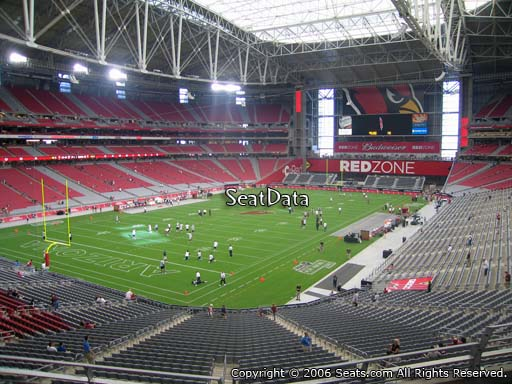 View from section 221 at University of Phoenix Stadium, home of the Arizona Cardinals