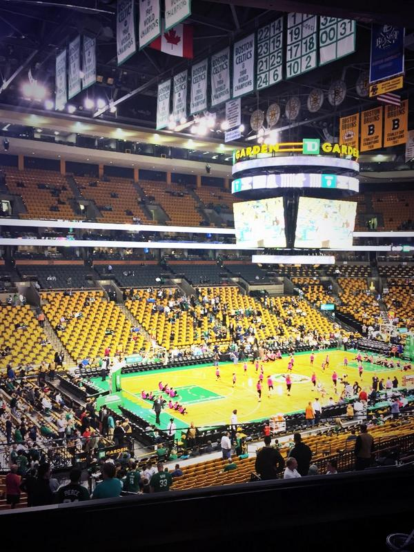 View from Club Section 115 at the TD Banknorth Garden, home of the Boston Celtics