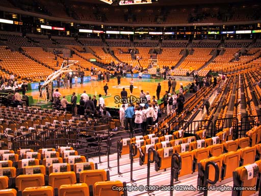 Seat view from section 16 at the TD Garden, home of the Boston Celtics.