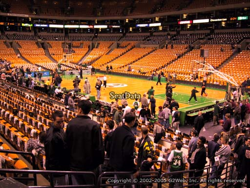 Seat view from section 20 at the TD Garden, home of the Boston Celtics.