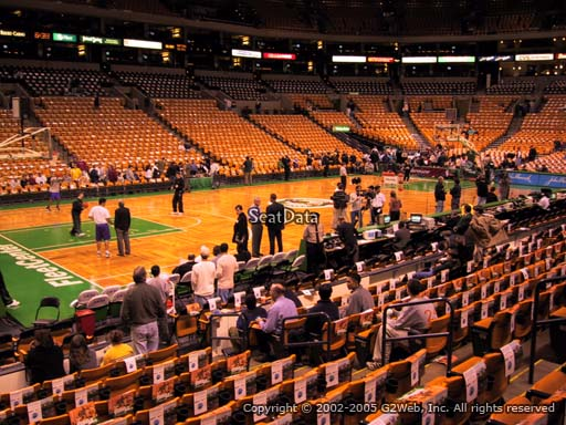 Seat view from section 3 at the TD Garden, home of the Boston Celtics.