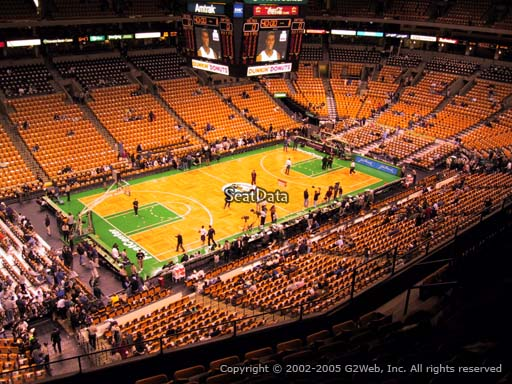 Seat view from section 304 at the TD Garden, home of the Boston Celtics.