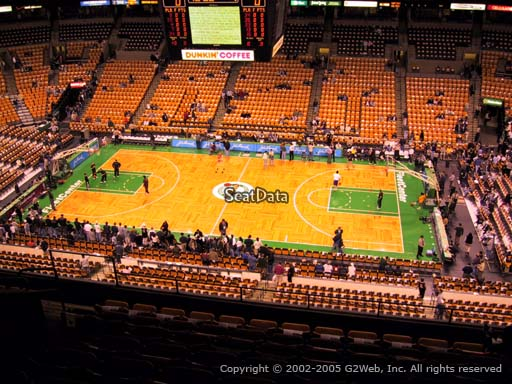 Seat view from section 315 at the TD Garden, home of the Boston Celtics.