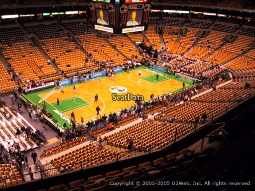 Seat view from section 319 at the TD Garden, home of the Boston Celtics.