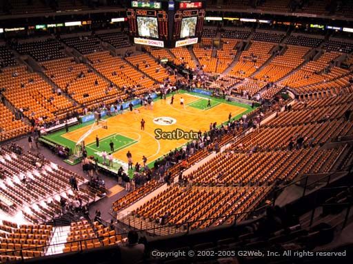 Seat view from section 320 at the TD Garden, home of the Boston Celtics.