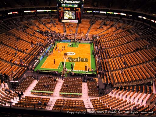 Seat view from section 323 at the TD Garden, home of the Boston Celtics.